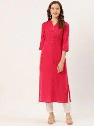 Jaipur Kurti Pink Pin Tucks Solid Straight Kurta