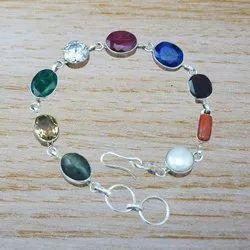 925 Sterling Silver Jewelry Ruby, Sapphire Bracelet
