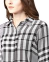 Jaipur Kurti Women Grey Geometric Straight Yarn Dyed Rayon Shirt