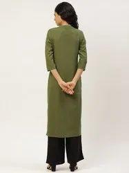 Jaipur Kurti Olive Green Pin Tucks Solid Straight Kurta With Solid Rayon Black Palazzo.