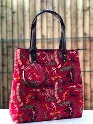 Cotton Printed Ladies Designer Modern Combo Ikkat Bag