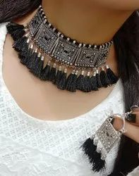 Black Rajasthani Necklace With Earrings Set, Occasion: Party, Size: Large