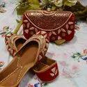 Party Wear Red Punjabi Jutti With Clutch