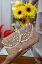 Peach Synthetic Designer Punjabi Ladies Clutch Handbag