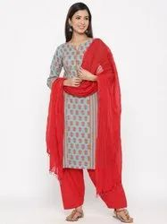 Jaipur Kurti Women Blue Printed Straight Cotton Kurta With Salwar & Dupatta