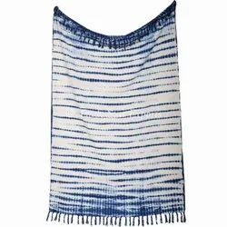 Shibori Hand Dyed Bohemian Cotton Sofa Throw Blanket