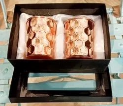 Copper Glass Set Diamond Finish Diwali Gift Corporate Gift Wedding Gift