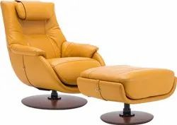 Mustard Yellow Leather Recliner Rocking Chair, For Home, Back Style: Cushion
