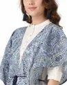 Jaipur Kurti Women Indigo Floral Kimono Style Cotton Shrug