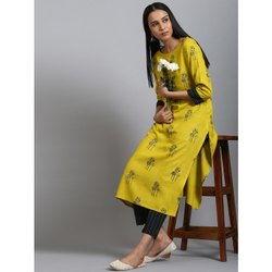 Janasya Women's Mustard Rayon Kurta With Pant(SET225)