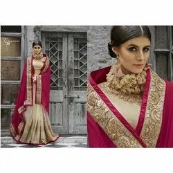 Work Border Ladies Designer Saree, 6 m (with blouse piece)