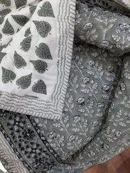 Cotton White Base Hand Block Print Reversible Jaipuri Quilt