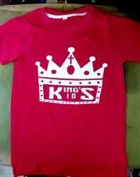 Half Cotton Red Printed T Shirt