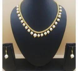 Copper, Pearl Modern Artificial Drop Pearl Necklace Set