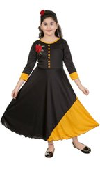 Girl Kids Ankle Length Cotton Frock