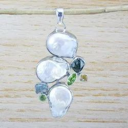 925 Sterling Silver Jewelry Natural Pearl Multi Gemstone Womens Pendant Wp-6087