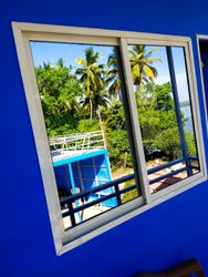 Modern White Powder Coated Aluminium Window, For Home