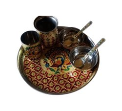 Meenakari Brass Dinner Thali Set
