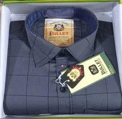 Cotton Collar Neck Gray Check Mens Shirts
