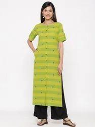 Jaipur Kurti Women Green Woven Design Straight Blended Kurta