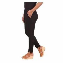 Slim Fit Plain Ladies Black Cotton Legging, Size: Medium