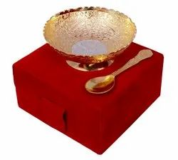 Anand Craft Silver And Gold Plated German Silver Bowl Spoon Set