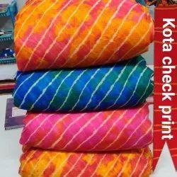 Kota Check Print Fabric, GSM: 100 GSM