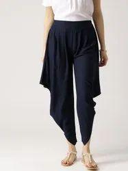 Jaipur Kurti Women Navy Blue Solid Rayon Cowl Pants