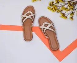 Flat Daily wear 36 Cm White Strap Sandals