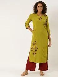 Jaipur Kurti Green Placement Embroidered Straight Kurta