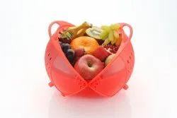 Om Enterprise Red Slings Plastic Rinse Bowl & Strainer Cum Basket