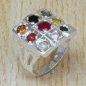 Navratna Gemstone 925 Sterling Silver Jewelry Ring SJWR-439