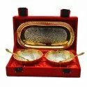 Anand Crafts Silver And Gold Plated German Silver Bowl Spoon Tray Set