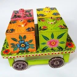 Handicraft Wooden Cart/Thela With 4 Box For Decor And Gift