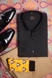 Boros Full Black Solid Shirt, Formal