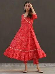 Rayon Round Neck Indian Ethnic Designer Red Anarkali Kurta