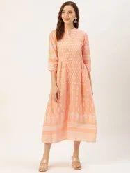 Jaipur Kurti Peach Printed Flared Dress