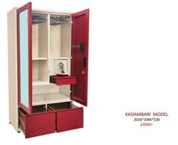 Red Fancy Steel Almirah With Dressing, For Home