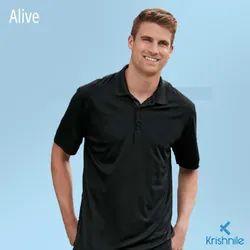 Polyester Half Sleeve Alive Men Polo T Shirt