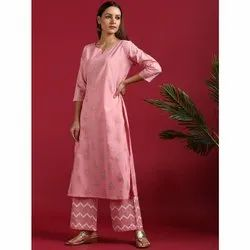 Janasya Women's Pink Cotton Kurta With Palazzo (SET236)