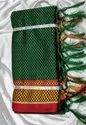 Casual Wear Border Trt 6 M Bottle Green Khoon Saree, With Blouse Piece