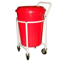 MS Soiled Linen Trolley With Plastic Bucket