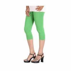 Viscose Lycra Light Green Trendy Ladies Capri