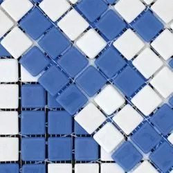 Multicolor Glossy Microfine Porcelain Glass Mosaic Tile, Thickness: 1-5 Mm, Size: 30x30