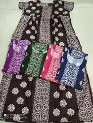 Printed Full Length Batik Print Gown, Free Size