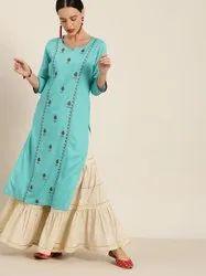 Jaipur Kurti Blue Embroidered Straight Kurta