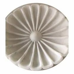 Carved Round White Marble Urli, For Temple