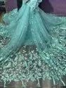 For Lehenga Embroidered Sky Blue Imported Korean Net Fabric, Width: 60 Inches