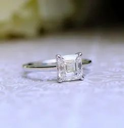 2.00 Ct Colorless Asscher Cut Moissanite Engagement Ring, Solitaire Ring, Solid White Gold Ring