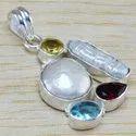 925 Sterling Silver New Designer Jewelry Pearl Gemstone Pendant